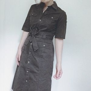 Banana Republic dark Taupe belt button-down dress